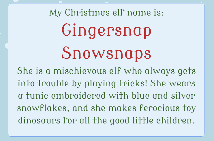 get your own christmas elf name from the christmas elf name generator - Christmas Elf Names