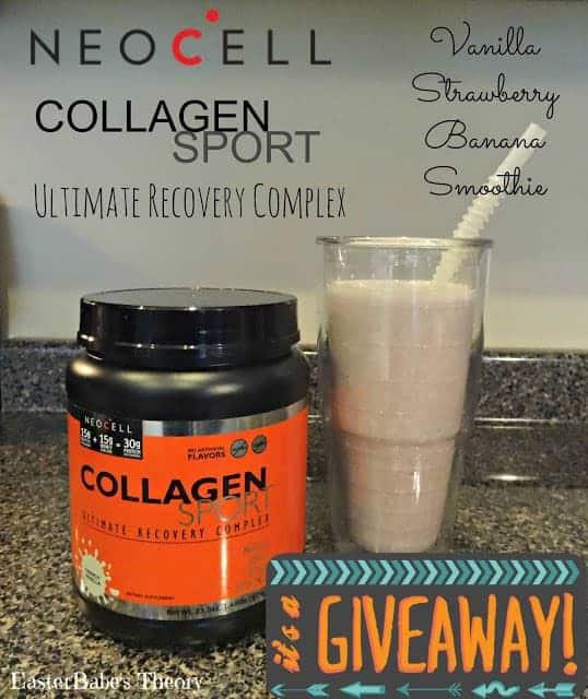 Vanilla Strawberry Banana Smoothie Recipe made with NEOCELL Collagen Sport Ultimate Recovery + Giveaway
