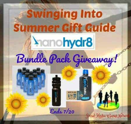 One lucky winner will receive a 12-pack pf nanohydr8 shooters, 32-ounce concentrate of nanohydr8, and a nanohydr8 sports bottle