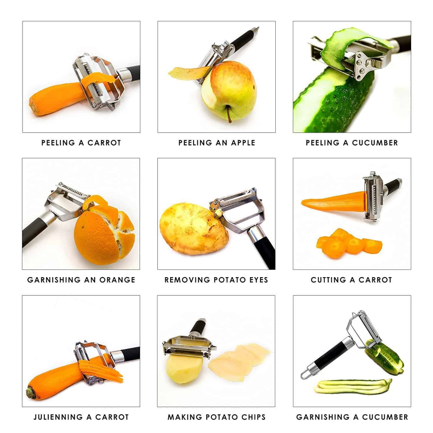 Deiss PRO Dual Julienne Peeler & Vegetable Peeler — Non-slip Comfortable Handle — Amazing Tool for Making Delicious Salads and Veggie Noodles