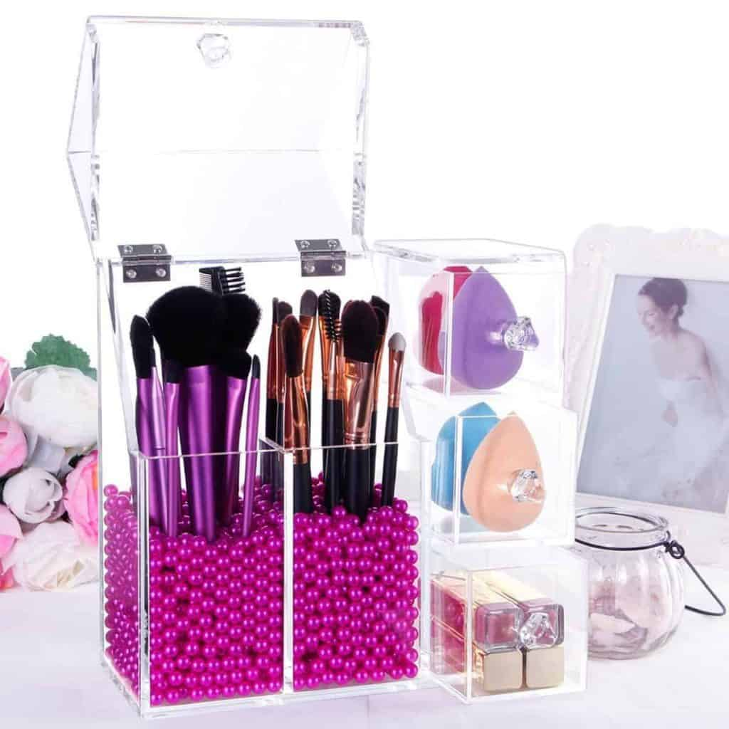 Beauty Acrylic Makeup Organizer for Makeup Brushes and Sponges with Drawers