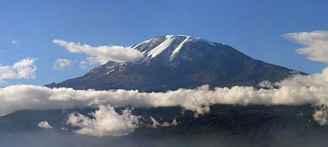 A panorama of Mount Kilimanjaro. Picture taken in Moshi, Tanzania