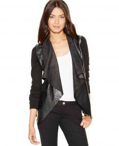 Macy's Mixed-Media Draped-Front Cardigan