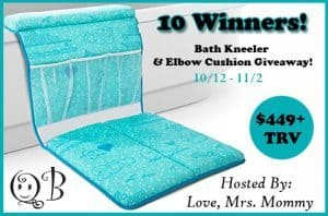 10 Winner QueBébé Bath Kneeler and Elbow Cushion Giveaway