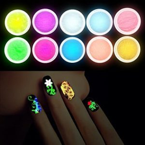 Hallowen Anself 10Pcs UV Gel Nail Polish Nail Tip Art Glitter Powder Dust Luminous Fluorescent Sands, Glow In The Dark