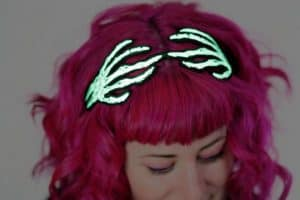 Halloween Glow in the Dark Skeleton Hands Headband Wired Hair Band