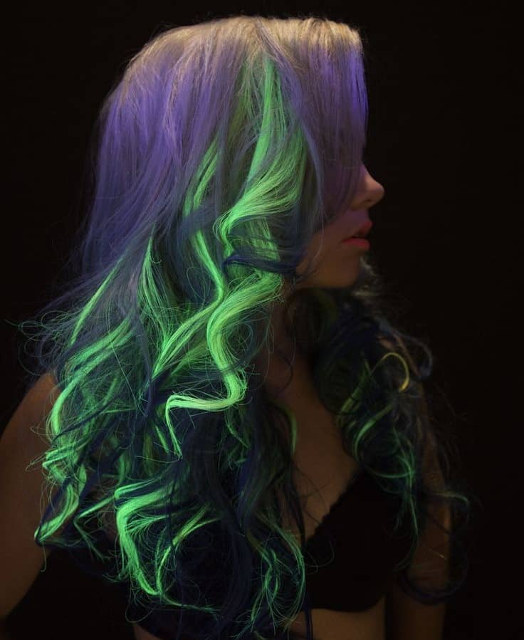 halloween glow in the dark hair highlights 1