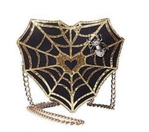 Betsey Johnson WEB SURFER SPIDER WEB Heart Crossbody bag witch goth WEBMASTER