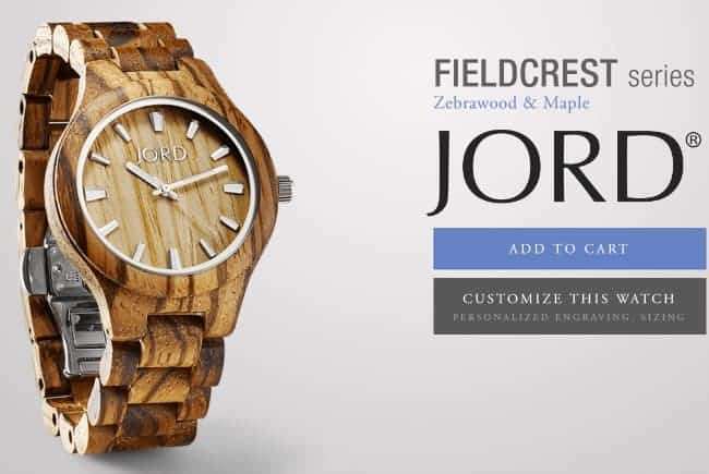 JORD Wood Watch Fieldcrest Series Zebrawood and Maple