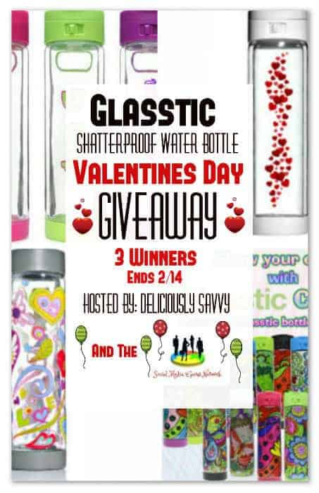 Glasstic Shatterproof Water Bottle Valentine's Day