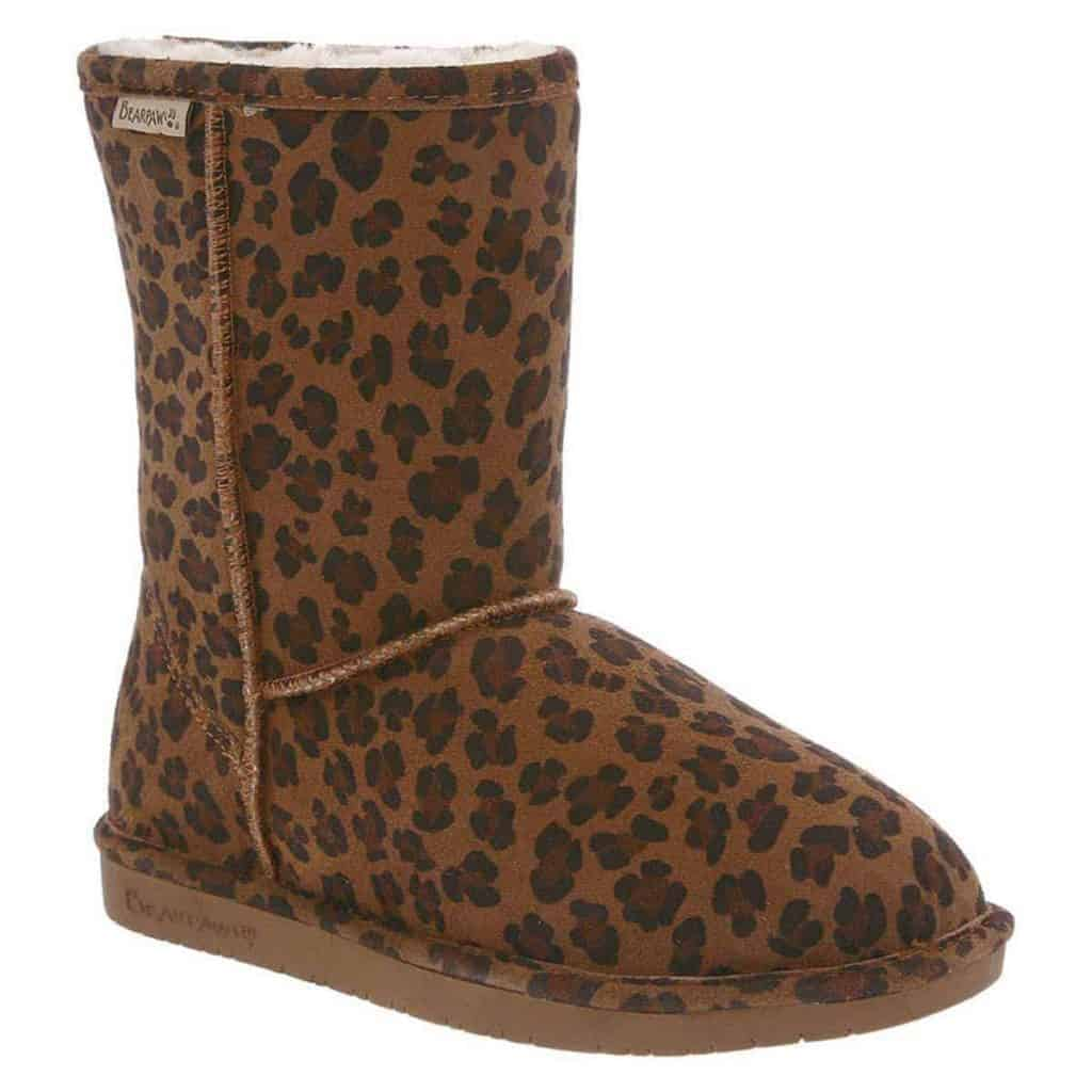 My Gift Stop Bearpaw 608W-230-M060 Women's Emma Cow Suede Hickory Leopard Leather Winter Boot