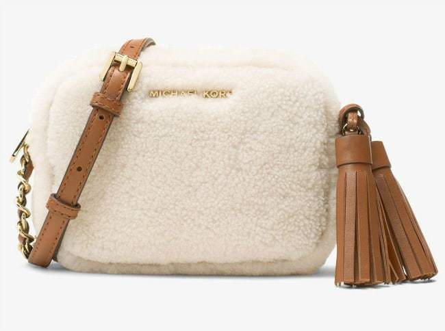 My Gift Stop Michael Kors 32F6GTVC1F-035 Jet Set Travel Small White Wool Women's Crossbody Shoulder Bag