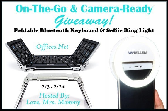 On-The-Go & Camera-Ready Tech Offices.net Foldable Bluetooth Keyboard and Selfie Ring Light