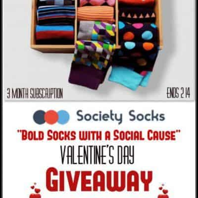 """Society Socks """"Bold Socks with a Social Cause"""" Valentine's Day 3 Month Subscription Giveaway"""