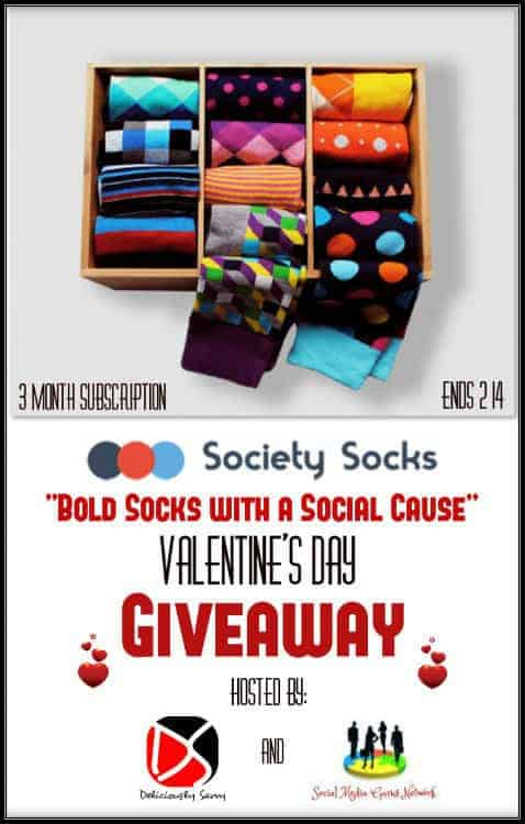 "Society Socks ""Bold Socks with a Social Cause"" Valentine's Day 3 Month Subscription"