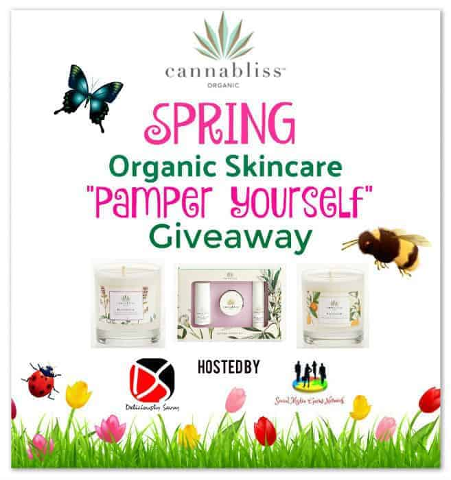 Cannabliss Spring Organic Skincare Starter Kit and Candle