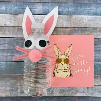 Easter Bunny Water Bottle Craft with Rabbit Ears Pattern Printable