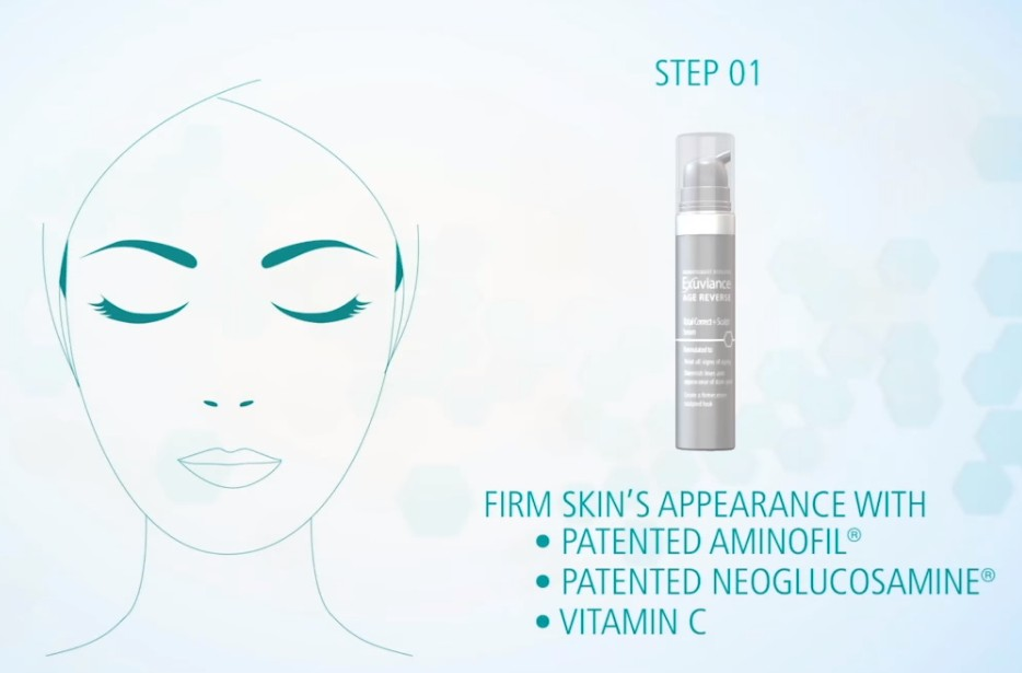 Exuviance HA100 Micro-Filler Patches STEP 1:  Exuviance Age Reverse Total Correct + Sculpt Serum