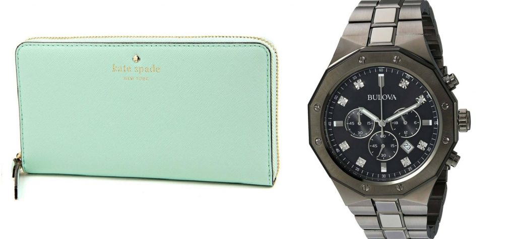 Bulova Mens Chronograph Diamond Watch Quartz Grey IP Steel Black Dial 98D142 and Kate Spade Cedar Street Wallet