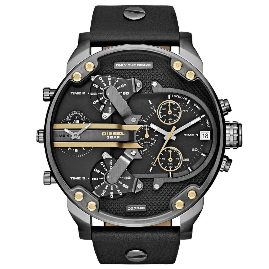 Diesel DZ7348 men's Mr. Daddy 2.0 black dial gunmetal IP steel black leather strap chrono watch