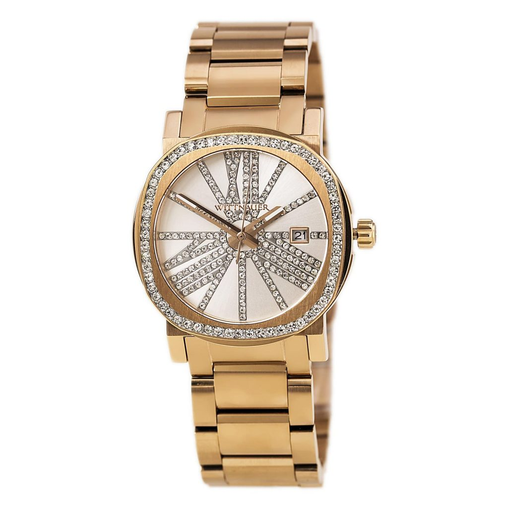Wittnauer WN4008 women's Adele silver dial rose gold steel crystal accented watch