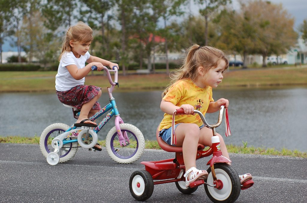 kids riding bikes to stay active during summer