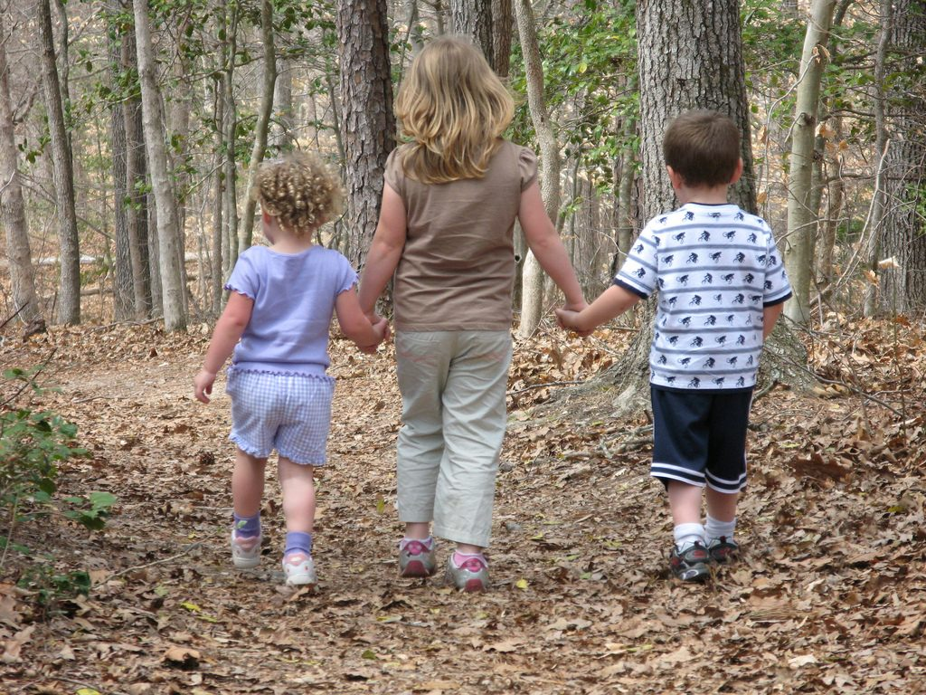 After dinner walking in the trails to Keep Kids Active this Summer