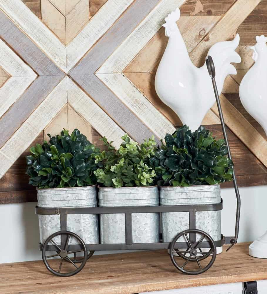 Farmhouse Silver Iron 3-Pot Wagon Planter with Gray Accents