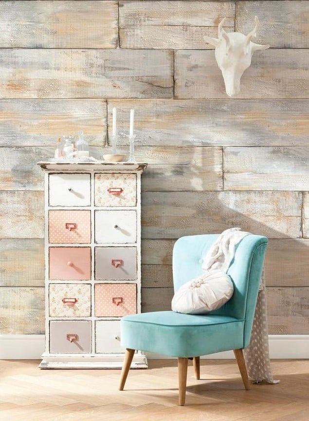Komar weathered wood shabby chic wall mural