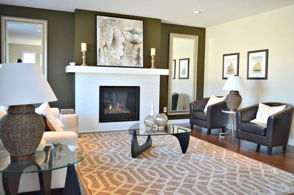 Painted White Brick Fireplace as living room focal points