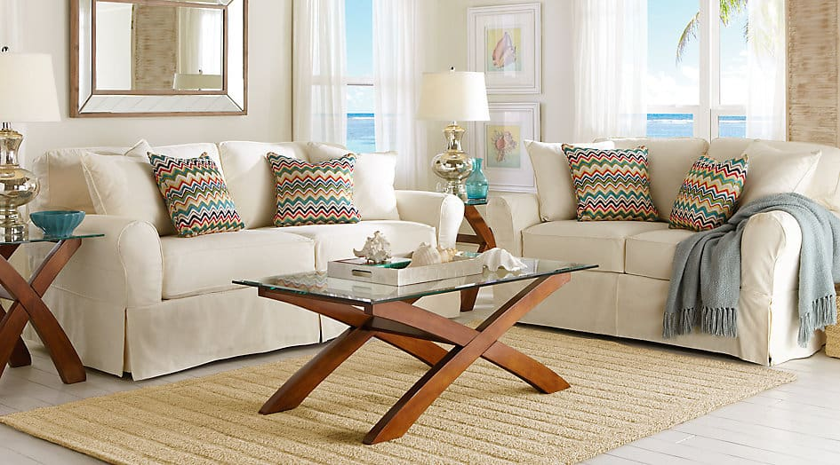 RoomsToGo CINDY CRAWFORD HOME BEACHSIDE NATURAL 7 PC LIVING ROOM