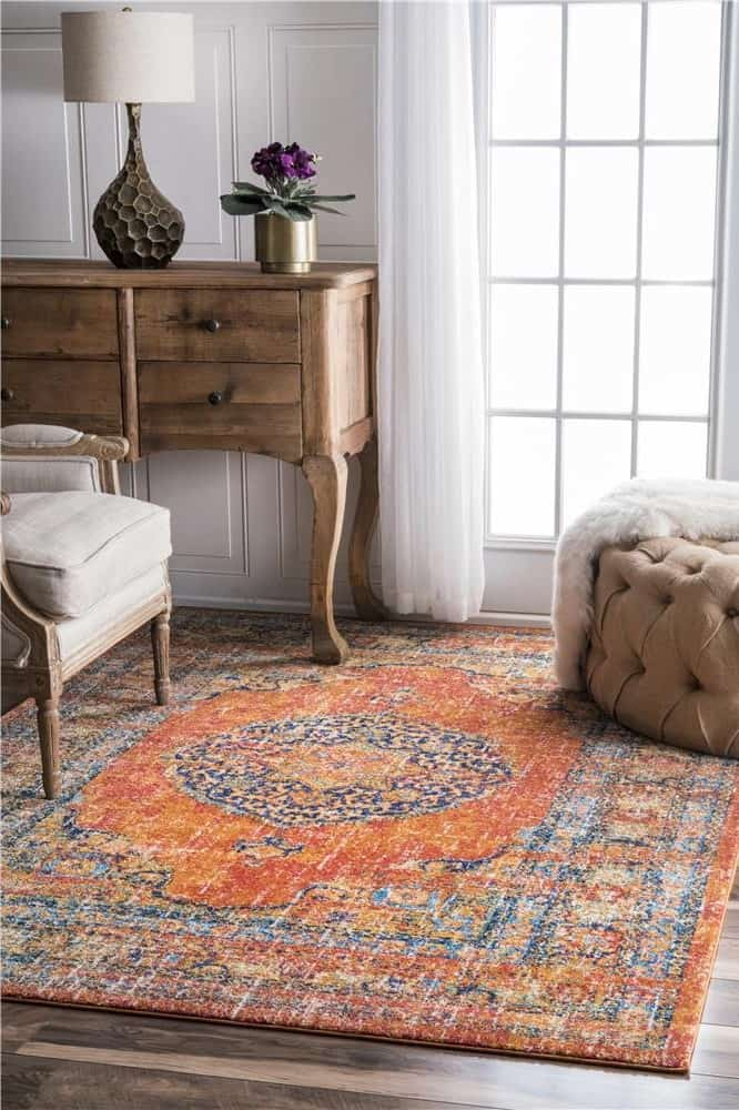 nuLOOM RZBD43A-5075 Orange Persian Vintage Olivia Bosphorus Oriental Star Token Medallion Area Rug