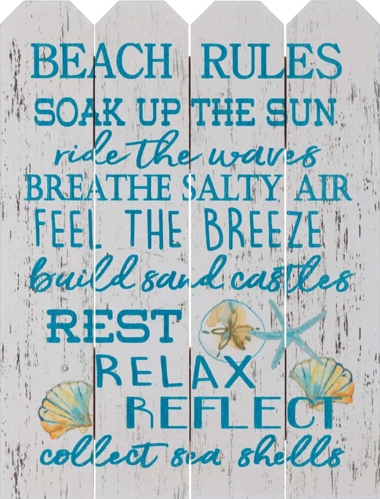 Top Beaches to Visit Beach Distress White Wash Handmade Rules Wooden Sign