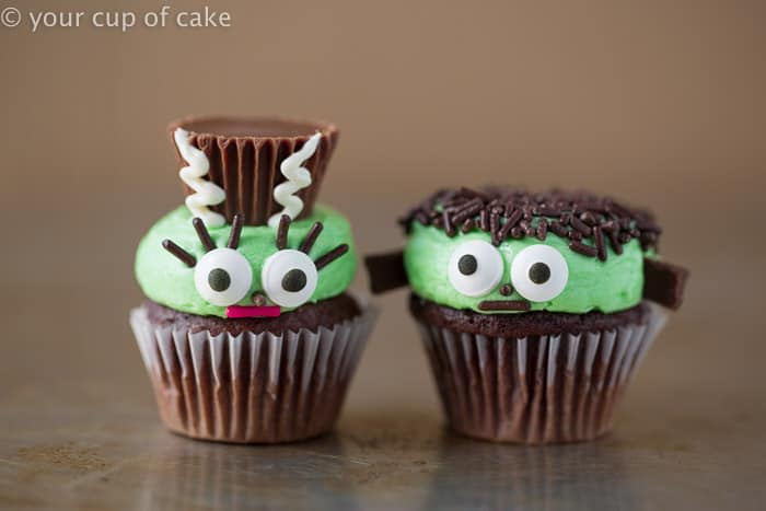 MR AND MRS FRANKENSTEIN MINI HALLOWEEN CUPCAKES