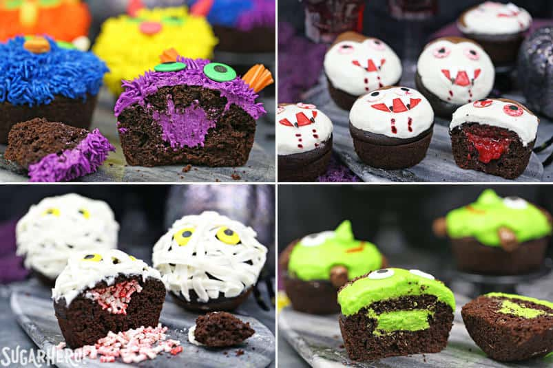 Stuffed Halloween Cupcakes monsters, vampires, mummies, and Frankenstein's monster