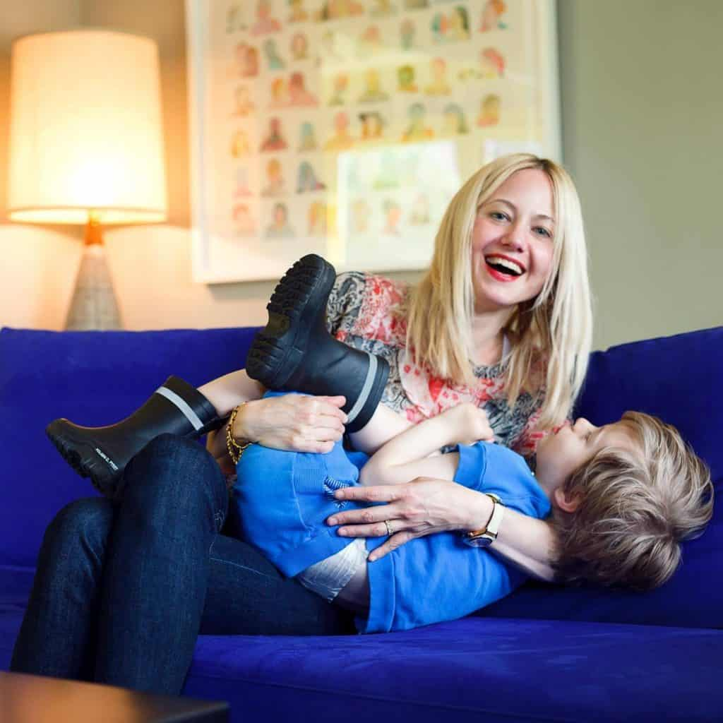 Robot Bunnies baby blankie blanket owner Nikki Gersten McAvity and son Simon