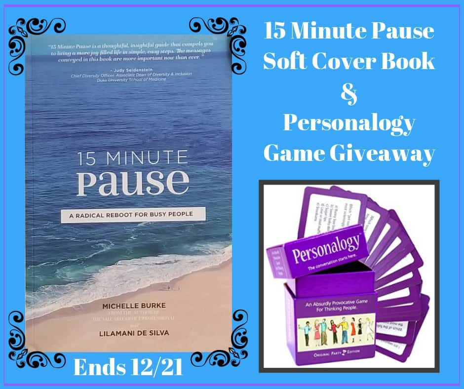 15 Minute Pause Book & Personalogy Game Giveaway