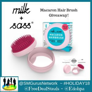 Milk & Sass Macaron Detangling Brush with Compact Mirror